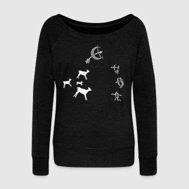 Cave, cave painting, hunter, survival - Women's Wideneck Sweatshirt