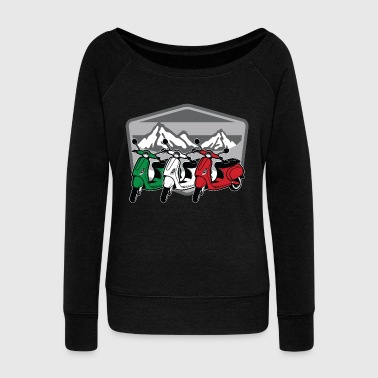 Moped Scooter Italia | Motorbike Italy Flag Two Wheeler - Women's Wideneck Sweatshirt