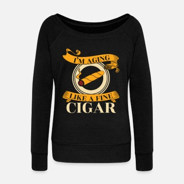 Thin Cigar Pipe Smoke Gift - Women's Wideneck Sweatshirt