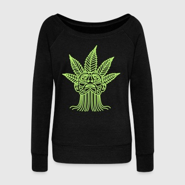 Hemp Leaf hemp leaf maja - Women's Wideneck Sweatshirt