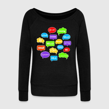 Bubble Speech Bubbles Saying Hello in Various Languages - Women's Wideneck Sweatshirt