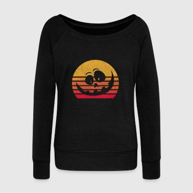 Raven Vintage Retro Halloween Pumpkin Funny Gift Idea - Women's Wideneck Sweatshirt