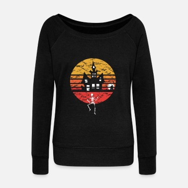 Ghost Halloween Vintage Retro Witch Skeleton Gift Idea - Women's Wideneck Sweatshirt