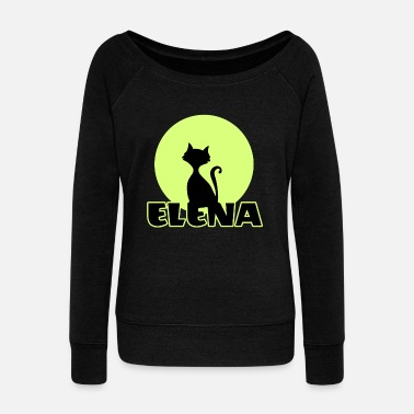 Name Day Elena Name day first name personal gift moonlight  - Women's Wide-Neck Sweatshirt