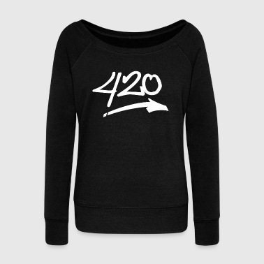 420 Cannabis white - Women's Wideneck Sweatshirt