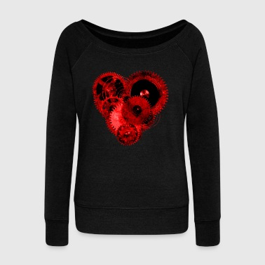 Steampunk Valentine Heart Sweatshirt - Women's Wideneck Sweatshirt
