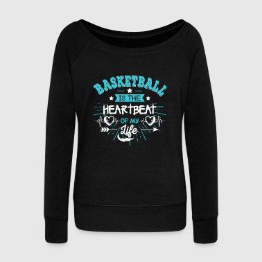 Heartbeat Basketball Team Womens Shirt Gift Idea - Women's Wideneck Sweatshirt
