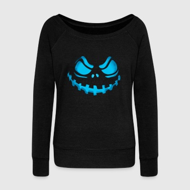 Scary Evil Pumpkin Face Halloween Jack-O-Lantern - Women's Wideneck Sweatshirt