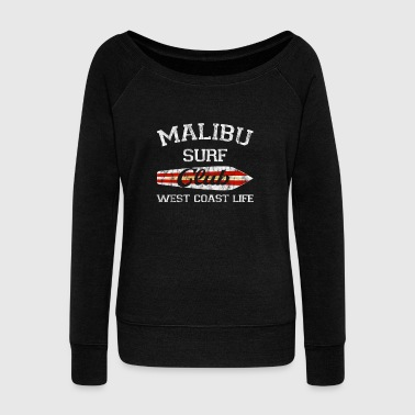 Aloha Malibu Surf Club Vintage Retro Surfing Beach Distressed - Women's Wideneck Sweatshirt