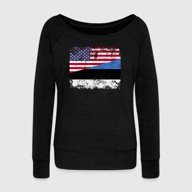 ESTONIAN ROOTS | American Flag | ESTONIA - Women's Wideneck Sweatshirt