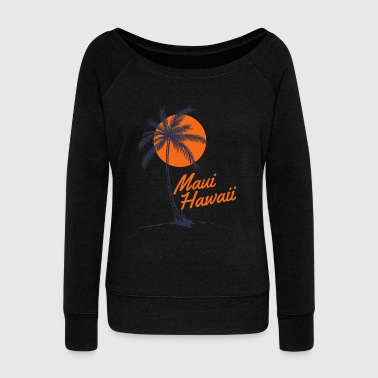 Palm Tree Sun Beach Maui Hawaii - Women's Wideneck Sweatshirt