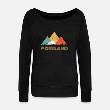 Portland Retro City of Portland Mountain Shirt - Women's Wideneck Sweatshirt