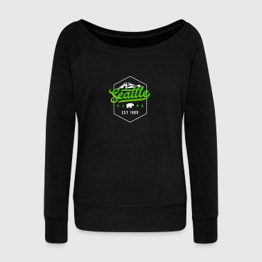 Seattle Washington PNW Classic Badge Pride - Women's Wideneck Sweatshirt