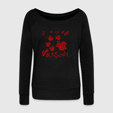 GIFT - HONEY BEE RED - Women's Wideneck Sweatshirt