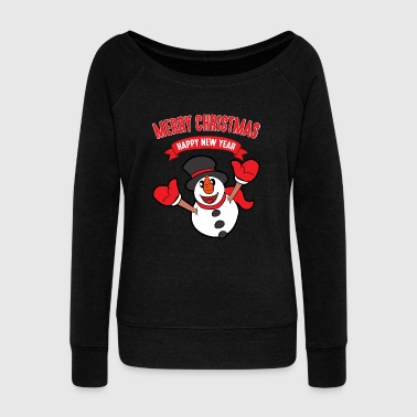 Christmas Xmas Funny Cool Snowman Winter Snow Cute - Women's Wideneck Sweatshirt