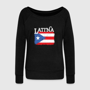 Womens Puerto Rico Latina Mama Flag Mothers Day - Women's Wideneck Sweatshirt