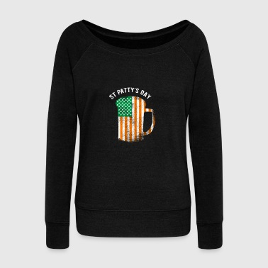 St Patrick's Day American Flag Irish Beer Shamrock - Women's Wideneck Sweatshirt