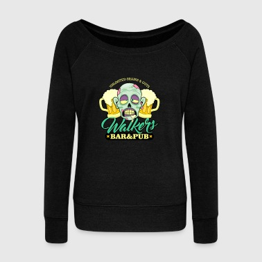 Zombie Walkers Bar and Pub Beer Halloween - Women's Wideneck Sweatshirt
