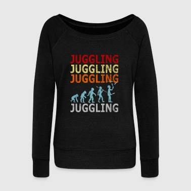 Retro Vintage Evolution Juggle Juggling Artist - Women's Wideneck Sweatshirt
