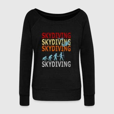 Retro Vintage Style Evolution Skydiver Skydiving - Women's Wideneck Sweatshirt