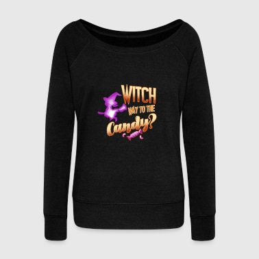 Witch way to the candy Halloween women witches - Women's Wideneck Sweatshirt