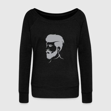 Beard Bearded Hipster Earpods Airpods Hairstyle - Women's Wideneck Sweatshirt