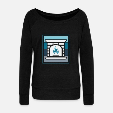 House Fireplace Blue christmas ugly sweater gift - Women's Wideneck Sweatshirt