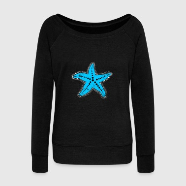 blue Starfish christmas gift kids drawing - Women's Wideneck Sweatshirt
