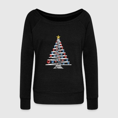 Minimalistic Christmas Tree beautiful art gift - Women's Wideneck Sweatshirt