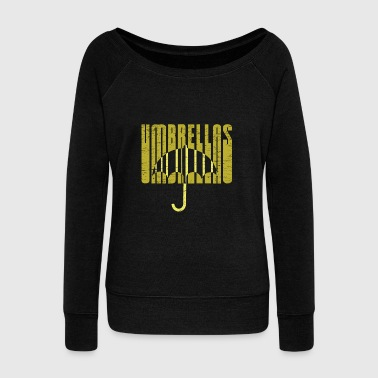 Cloud Yellow Umbrellas gift christmas rain rainy weather - Women's Wideneck Sweatshirt