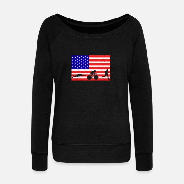 Sprinting triathlon sports event USA flag gift idea - Women's Wideneck Sweatshirt