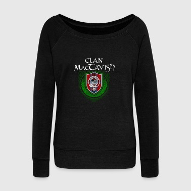 Celtic MacTavish Surname Scottish Clan Tartan Crest Badge - Women's Wideneck Sweatshirt