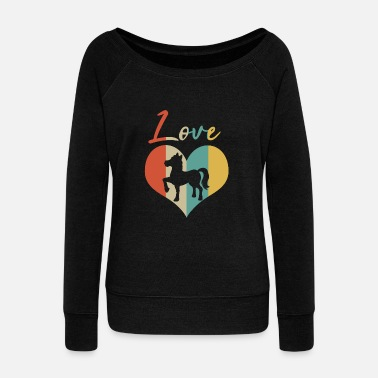Appaloosa Horse & Pony Retro Heart Love Gift & Present - Women's Wideneck Sweatshirt