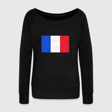 Paris French Flag France Gift Christmas Birthday - Women's Wideneck Sweatshirt