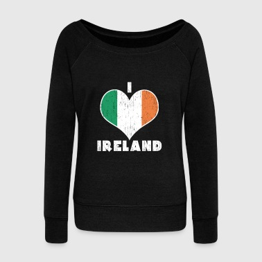 Grass I Love Ireland Heart Irish Flag Gift Christmas - Women's Wideneck Sweatshirt