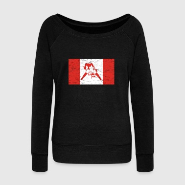 French Flag Canada Hockey Gift Christmas Birthday Kids - Women's Wideneck Sweatshirt