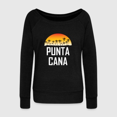 Punta Cana Sunset And Palm Trees Beach - Women's Wideneck Sweatshirt