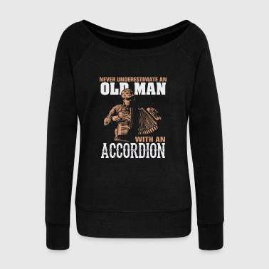 Old School Hip Hop Old man - never underestimate an old man with an - Women's Wideneck Sweatshirt