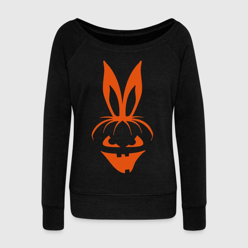 pumpkin bunny rabbit ears halloween hare scary  - Women's Wideneck Sweatshirt