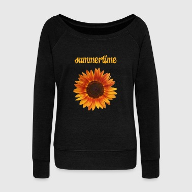 summertime - beautiful sunflower blossom - Women's Wideneck Sweatshirt