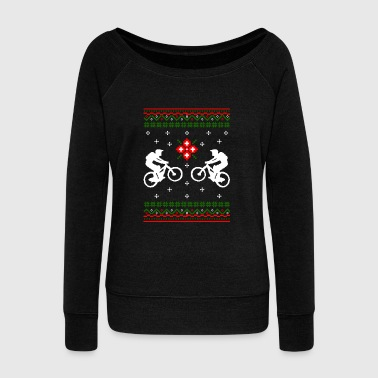 Funny Ugly Christmas Cycling Snowflakes Bicycle - Women's Wideneck Sweatshirt