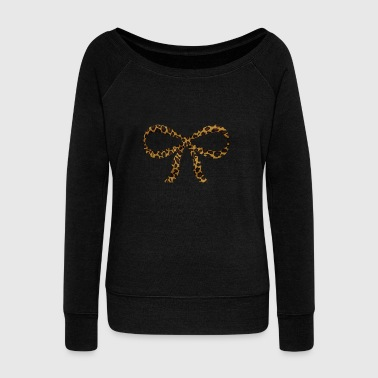 Leopard Bow - Women's Wideneck Sweatshirt