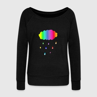 Cloud Cloud Colorful Rainbow Rain Gift - Women's Wideneck Sweatshirt