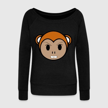 Silver Back Emoticon Monkey - Women's Wideneck Sweatshirt