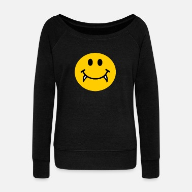 Teeth Vampire Smiley face - Women's Wideneck Sweatshirt