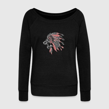 Lion American Indian Plumage - Women's Wideneck Sweatshirt