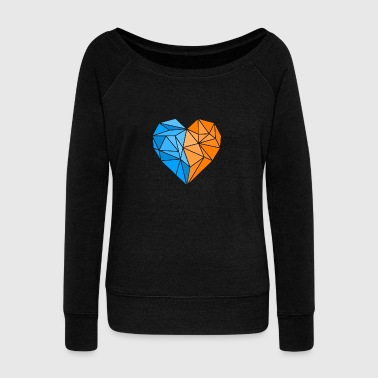 Orange Blue Heart - Women's Wideneck Sweatshirt