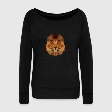 Lion head geometric polygon gift idea line hipster - Women's Wideneck Sweatshirt