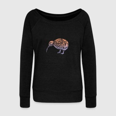 Kiwi Maori Kiwi Bird Orange Violet - Gift Idea - Women's Wideneck Sweatshirt
