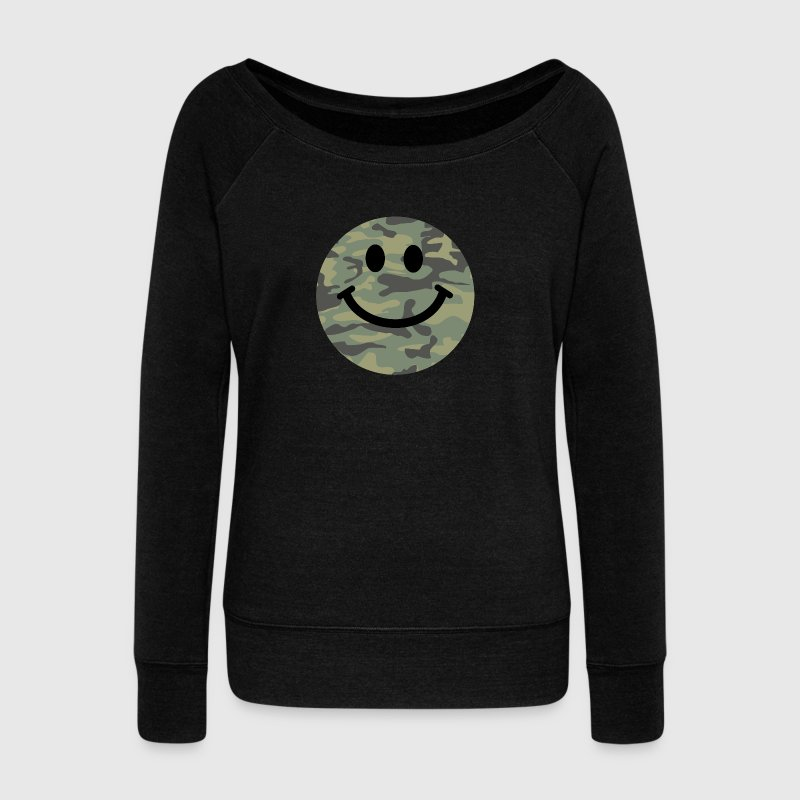 Army green camo Smiley face - Women's Wideneck Sweatshirt